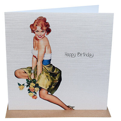 Birthday Card Vintage Pin Up Birthday Card Friend Flowers Card