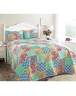 Hotel Quality Quilted Aqua Patchwork Bedspread Set and Pillow Sham Throw Blanket