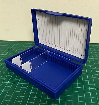 Blue Microscope slide storage case box 25 capacity hinged lid durable PP