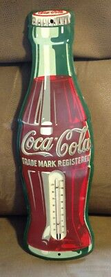 COCA COLA METAL BOTTLE THERMOMETER 17 INCH WORKING Soda Sign Advertising