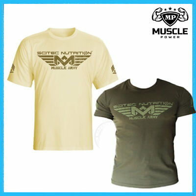 Scitec Nutrition Muscle Army Desert   Woodland Gym T-Shirt 100% Cotton All  Sizes ac10921dbc64