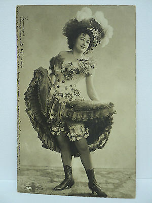 VINTAGE CPA  RPPC DANSEUSE DE CAN CAN SUPERBES BOTTINES c. 1905