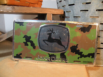 John Deere Camo Embossed License Plate, Black Deer on Silver Truck Tractors Barn