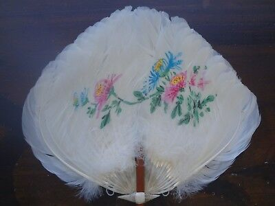 VICTORIAN ANTIQUE HAND HELD PAINTED FEATHER FAN Lovely Scarce Collection Listed!