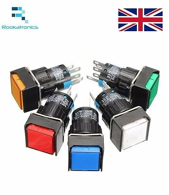 12V 24V 220v 16mm Momentary push button 5 Pin Switch White Red Green Blue Yellow