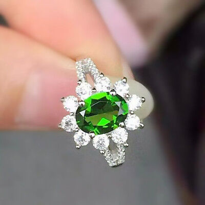 0.82Ct Natural Diamond 14K White Gold Emerald  Engagement Cocktail Ring