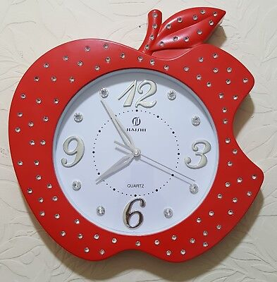 Large apple shape fancy wall clock 40x40 RED, BLACK, WHITE, GOLD,GREEN