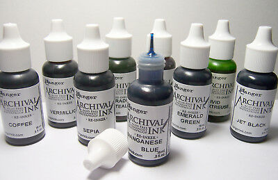 RANGER Archival Reinker .5oz Refill Ink for Stamp Pad Select from over 65 colors