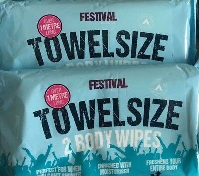 Festival/Camping 2 x 2 pack Towel Size Wet Wipes Over 1 metre long