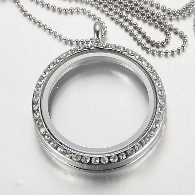 Floating Charm Necklace with a Crystal Glass Round Locket/Pendant