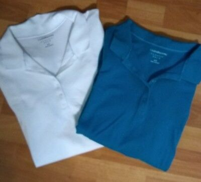 Womens Croft & Barrow Classic Polo Shirt Large Lot of Two White and Blue