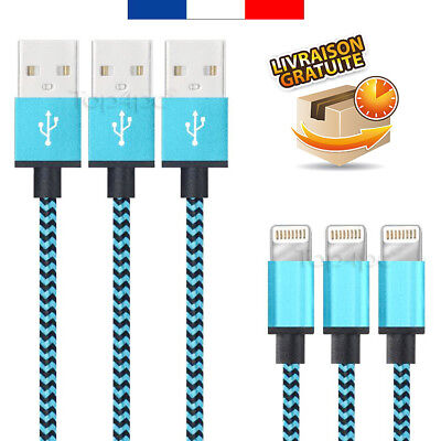 Cable Pour Iphone 5 6 7 8 X Plus Ipad Charger Usb Metal Renforcé Bleu 1M 2M 3M