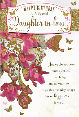 Special Birthday Daughter In Law Card Gold Glitter 3d Pink Flowers