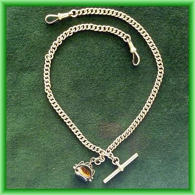9ct gold watch chain with fob