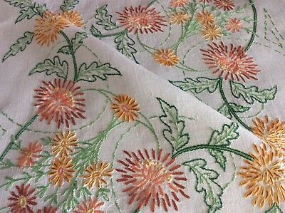 Beautiful Large Vintage Irish Linen Hand Embroidered Tablecloth ~ Chrysanthemums