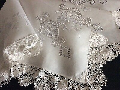 Exquisite Antique Irish Linen Tablecloth ~ Hand Embroidered Whitework/lace