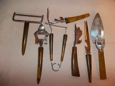 Vtg.Kitchen Utensils Lot Of 7Colorswirl Brown/Butterscotch Bakelite Handles Lot3