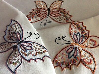 Gorgeous Large Vintage Linen Hand Embroidered Tablecloth ~ Butterflies/poppies