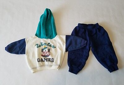 Vintage Carters Toddler 2 Pc Outfit Set Sweatshirt Hood Winter USA Games Sz 12mo