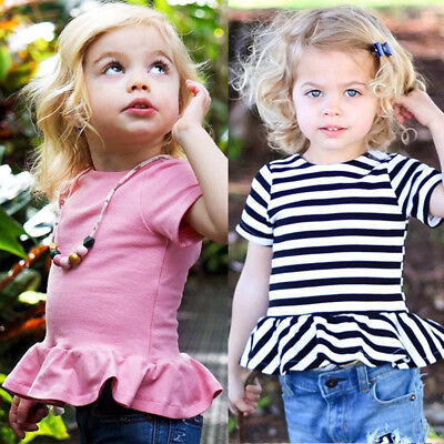 New Set Clothing T-shirt Baby Summer Sleeve Solid Shirts Clothes Striped Tops