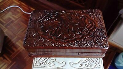 Carved wooden indian box good condition