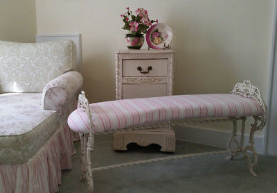 Antique Cast Iron Bench Ornate Victorian Curved Upolstered Shabby Fabric Pink