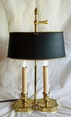 Vtg Small Bouillette 2 Candle Brass Table Lamp Black Tole Metal