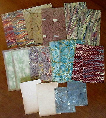 Marbled Paper collection 20 early sheets c.1830-90's nice lot assorted
