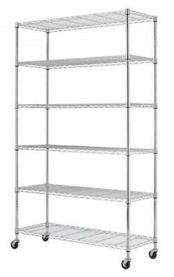 "Commercial 82""x48""x18"" 6 Tier Layer Shelf Adjustable Wire Metal Shelving..."