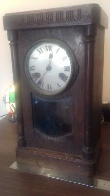Large Wooden Vintage Mantel Clock For Spare or Repair