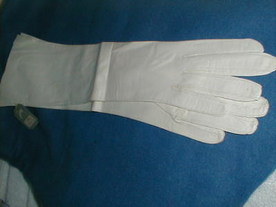 "NWT 15"" White Kid Leather  Opera GLOVES MANOR BOURNE sz 6 1/4  MADE IN FRANCE"