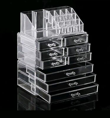 Extra Large 6 Tier Clear Acrylic Cosmetic Makeup Organiser Drawers Case Storage