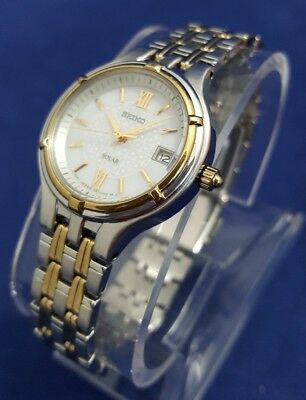 Seiko SUT017 Women's 27mm White Dial Two-Tone Stainless Steel Watch <SHIPS FREE>