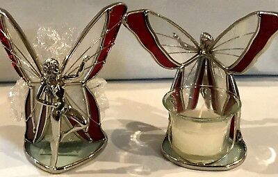 STAINED GLASS 2- Piece Standing Red Fairies  [9044-A]