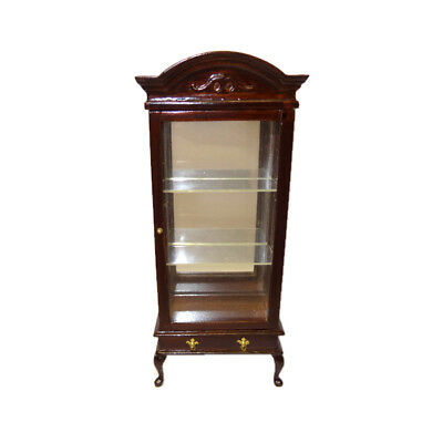 Dollhouse Mirrored Mahogany Curio Cabinet With Drawer 1 12 Doll House Miniature