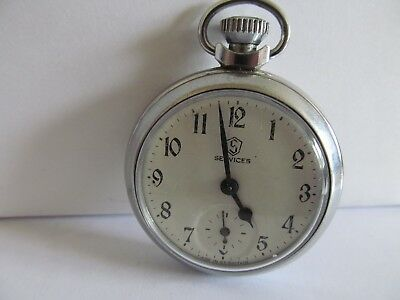 1950's vintage services pocket watch chromed cased good condition and working.