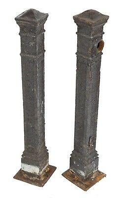 Cast Iron Salvaged Chicago Antique American Freestanding Newel Posts