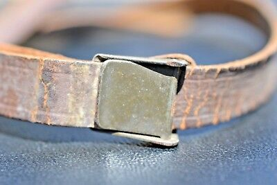 Wwii Rare Painted Green Buckle Us M1 Helmet Liner Leather Chinstrap United Carr