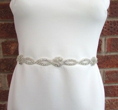 Silver Diamante Flower Wedding Dress Belt Crystal Sash Bridesmaid Rose Bead 5826