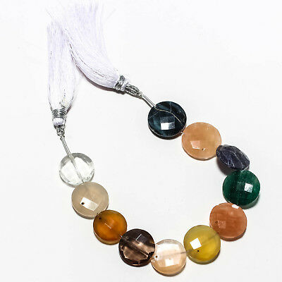 "Faceted Pietersite,Smokey Topaz & Multi Natural Gemstone Beads Strand 6.5"" 96 Ct"