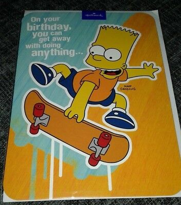 The Simpsons Birthday Card Bart On Skateboard Matt Groening Kids