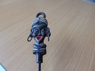 RARE ANTIQUE 19th CENTURY VICTORIAN BLACKAMOOR EBONY HEAD TOASTING FORK