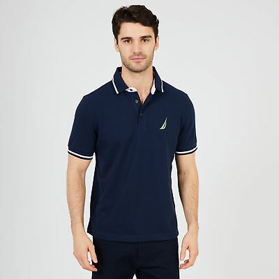 Nautica Mens Solid Tipped Classic Fit Polo