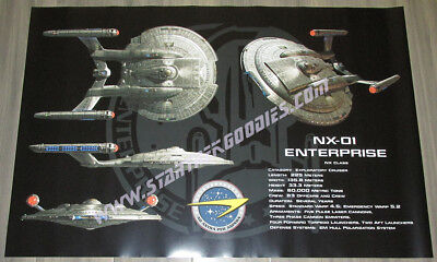 "EXCLUSIVE Star Trek: Enterprise 36""x24"" POSTER - 4 NX-01's with Specifications!"