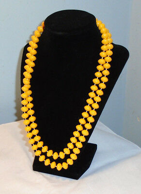 Vintage Yellow Plastic Fixed Bead Necklace 44 in.