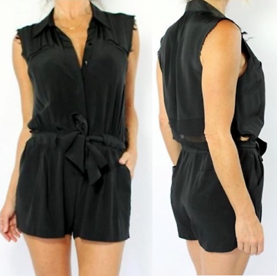 9183d4db2276 Jamison  325 Solid Black Silk Peekaboo Open Back Romper Playsuit. Small EUC