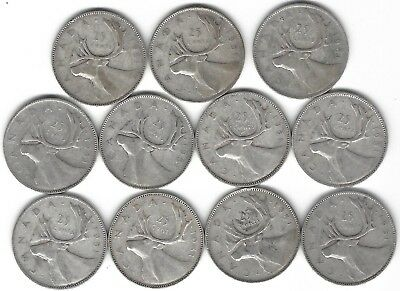 1951 Canada Silver Quarter Dollar 25 cent collection eleven (11) coins