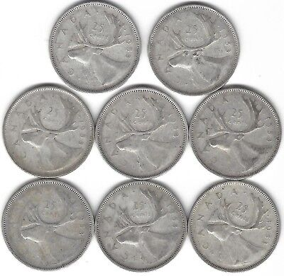 1953 Canada Silver Quarter Dollar 25 cent collection eight (8) coins 65 Year Old