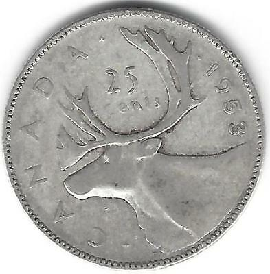 "1953 ""LARGE DATE"" LD Canada Silver Quarter Dollar 25 cent ONE (1) coin"