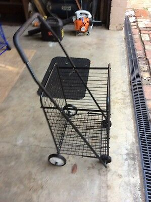 SHOPPING TROLLEY COLLAPSIBLE ROLLING 4 WHEELS STEEL METAL heavy duty strong